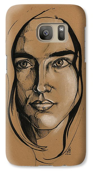 Galaxy Case featuring the drawing Jennifer Connelly by John Ashton Golden