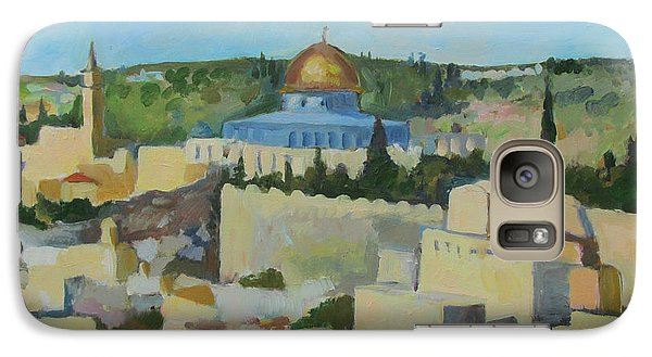 Galaxy Case featuring the painting Jeruselem Rooftops by Linda Novick