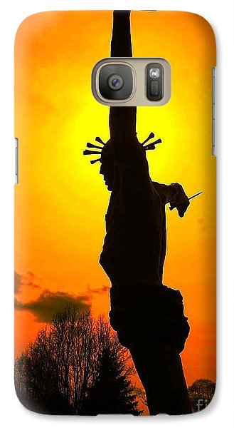 Galaxy Case featuring the photograph Jesus In Sunset 1 Hope by Becky Lupe