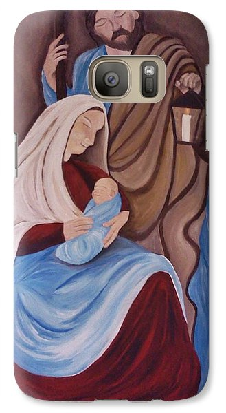 Galaxy Case featuring the painting Jesus Joseph And Mary by Christy Saunders Church