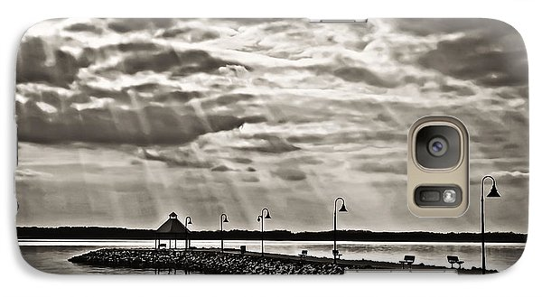 Galaxy Case featuring the photograph Jetty And Sunrays In Bw by Greg Jackson