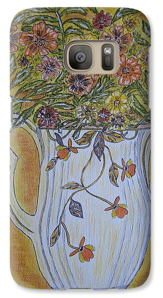 Galaxy Case featuring the painting Jewel Tea Pitcher With Marigolds by Kathy Marrs Chandler