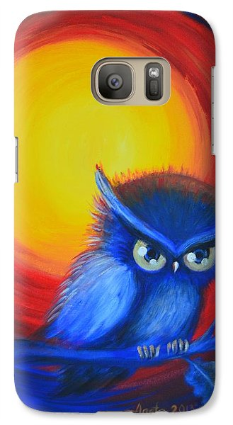 Galaxy Case featuring the painting Jewel-tone Vortex With Owl by Agata Lindquist