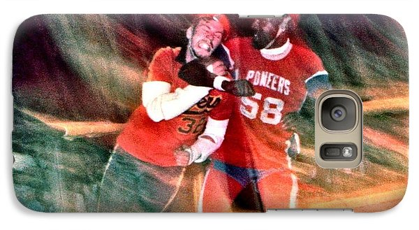 Galaxy Case featuring the photograph Jim Fitzpatrick Vs Charles Gipson Battling In Old School Roller Derby With The Sf Bay Bombers by Jim Fitzpatrick
