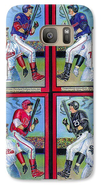 Galaxy Case featuring the mixed media Jim Thome Hits 600th Home Run by Ray Tapajna