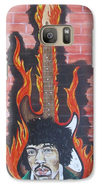 Galaxy Case featuring the painting Jimmy Hendrix And Guitar by Jeepee Aero