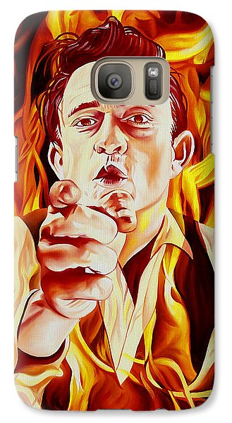 Johnny Cash And It Burns Galaxy S7 Case by Joshua Morton