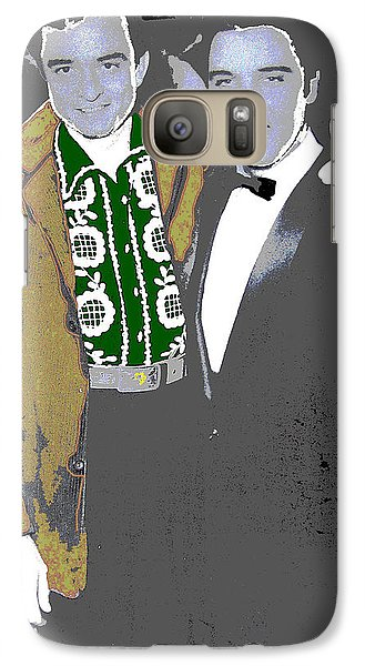 Galaxy Case featuring the photograph Johnny Cash  Elvis Presley Backstage Memphis Tn  Photographer Unknown  by David Lee Guss