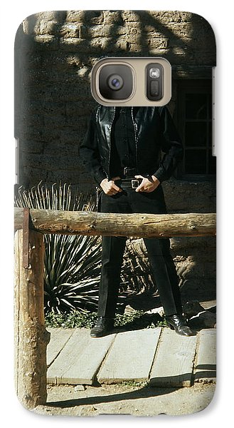 Galaxy Case featuring the photograph Johnny Cash Gunfighter Hitching Post Old Tucson Arizona 1971 by David Lee Guss