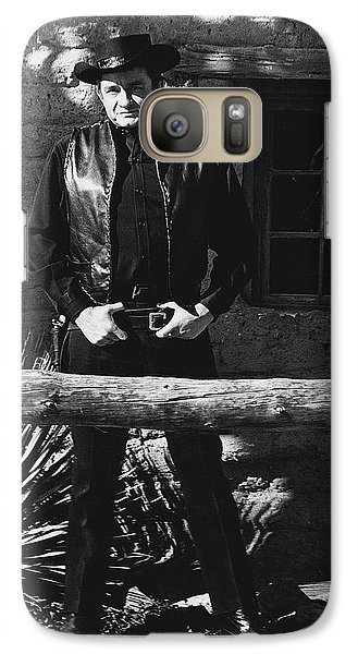 Galaxy Case featuring the photograph Johnny Cash Gunslinger Hitching Post Old Tucson Arizona 1971  by David Lee Guss