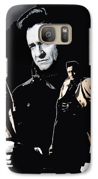 Galaxy Case featuring the photograph Johnny Cash Multiples  Trench Coat Sitting Collage 1971-2008 by David Lee Guss