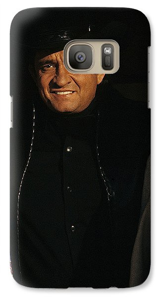 Galaxy Case featuring the photograph Johnny Cash Music Homage Solitary Man Flanked By Chill Wills  Andy Devine Old Tucson Az 1971 by David Lee Guss