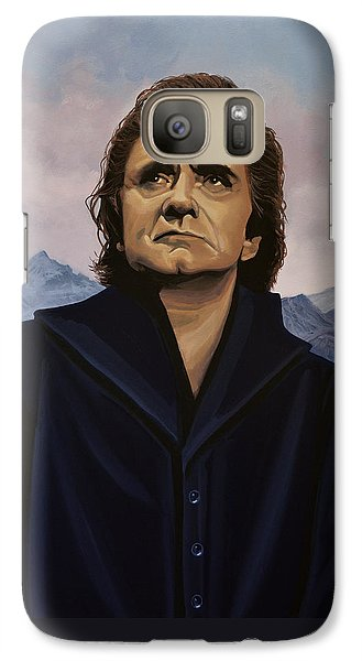 Rock And Roll Galaxy S7 Case - Johnny Cash Painting by Paul Meijering