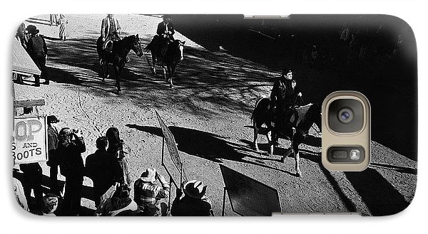 Galaxy Case featuring the photograph Johnny Cash Riding Horse Filming Promo Main Street Old Tucson Arizona 1971 by David Lee Guss
