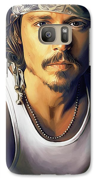 Johnny Depp Artwork Galaxy S7 Case by Sheraz A