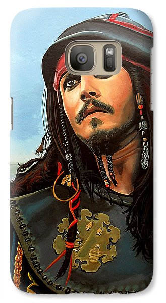 Johnny Depp As Jack Sparrow Galaxy S7 Case by Paul Meijering