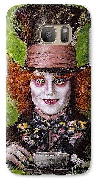 Johnny Depp As Mad Hatter Galaxy S7 Case by Melanie D