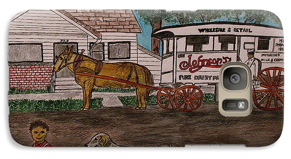 Galaxy Case featuring the painting Johnsons Milk Wagon Pulled By A Horse  by Kathy Marrs Chandler