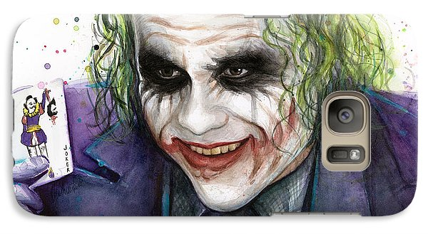 Joker Watercolor Portrait Galaxy S7 Case by Olga Shvartsur