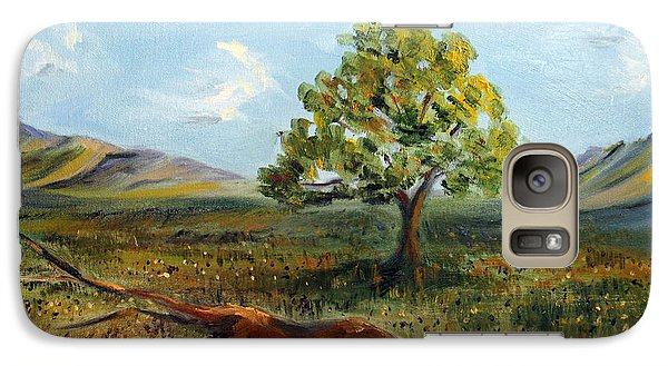 Galaxy Case featuring the painting Jubilant Fields by Meaghan Troup