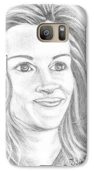 Galaxy Case featuring the drawing Julia Roberts by Teresa White