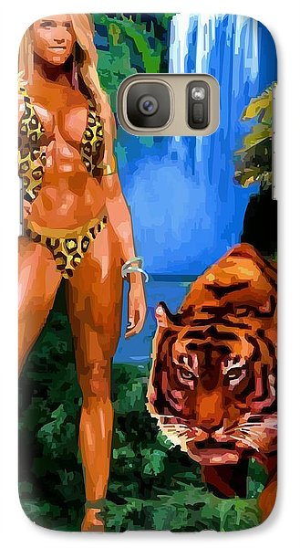 Galaxy Case featuring the digital art Jungle Girl by P Dwain Morris