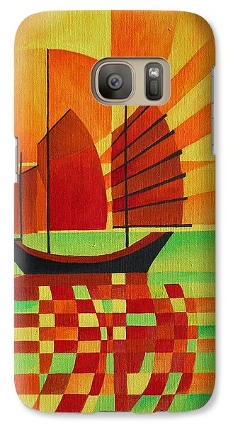 Galaxy Case featuring the painting Junk On A Sea Of Green by Tracey Harrington-Simpson