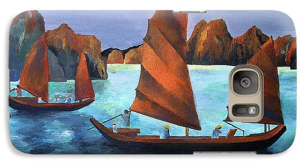 Galaxy Case featuring the painting Junks In The Descending Dragon Bay by Tracey Harrington-Simpson