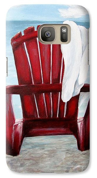 Galaxy Case featuring the painting Just Beachin' by Meagan  Visser