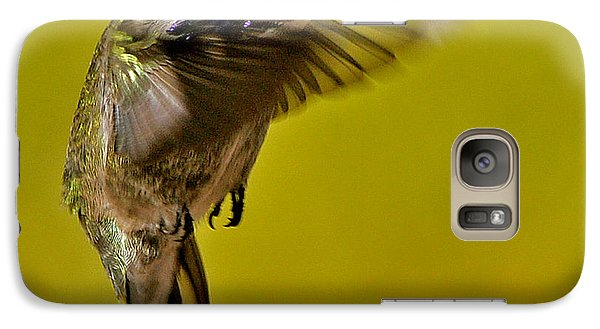 Galaxy Case featuring the photograph Juvenile Male Allen Hummingbird In Flight Ready To Land by Jay Milo