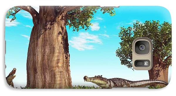 Kaprosuchus Prehistoric Crocodiles Galaxy Case by Walter Myers