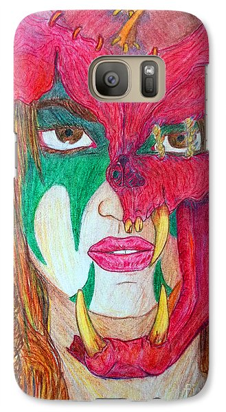 Galaxy Case featuring the drawing Kara's Battle Helm by Justin Moore
