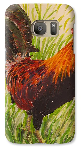Galaxy Case featuring the painting Kauai Rooster by Anna Skaradzinska