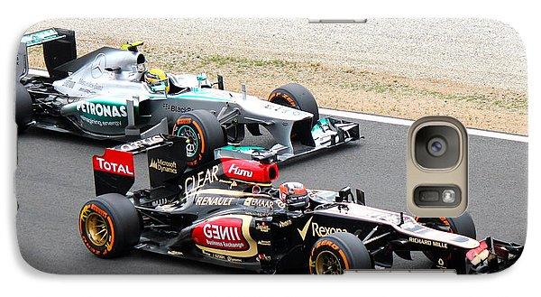 Galaxy Case featuring the photograph Kimi Raikkonen And Lewis Hamilton by David Grant