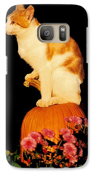 Galaxy Case featuring the photograph King Of The Pumpkin by Peg Urban