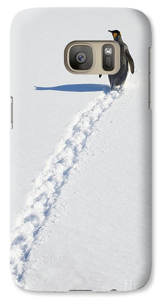 King Penguin And Tracks S Georgia Island Galaxy S7 Case by Yva Momatiuk and John Eastcott