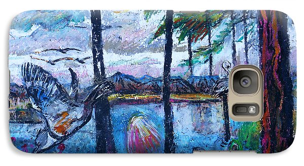 Galaxy Case featuring the painting Kingfisher And Deer In Landscape by Stan Esson