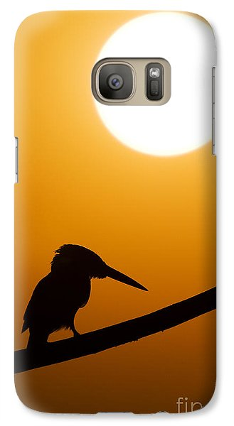 Kingfisher Sunset Silhouette Galaxy Case by Tim Gainey