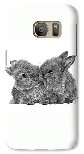Galaxy Case featuring the drawing Kissing Bunnies - 035 by Abbey Noelle