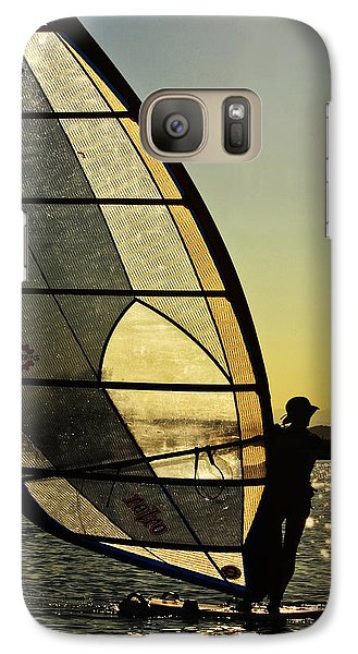 Galaxy Case featuring the photograph Kiteboarder Sunset by Sonya Lang