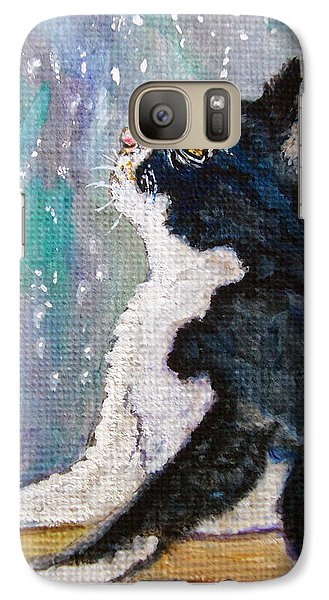 Galaxy Case featuring the painting Kitten In The Window by Ella Kaye Dickey