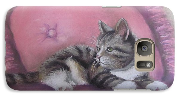 Galaxy Case featuring the painting Kitten On Pink Pillow by Melinda Saminski