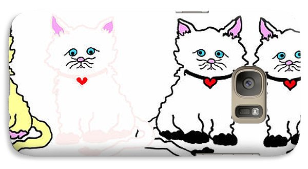 Galaxy Case featuring the drawing Kitties In A Row by Rachel Lowry