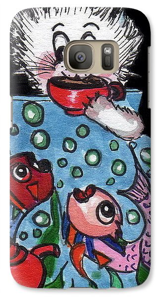 Galaxy Case featuring the painting Kitty Has Tea And Chat With Friends.   by Joyce Gebauer