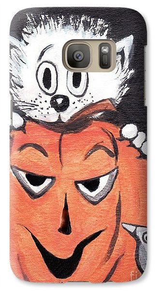 Galaxy Case featuring the painting Kitty Hates Halloween by Joyce Gebauer