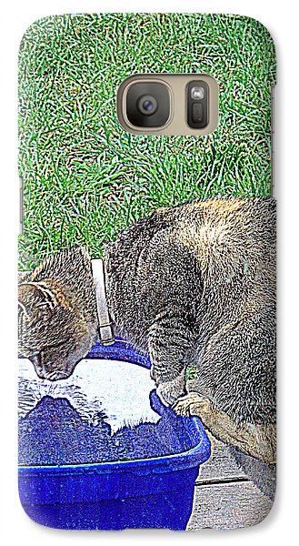Galaxy Case featuring the photograph Kitty Reflections by Suzy Piatt