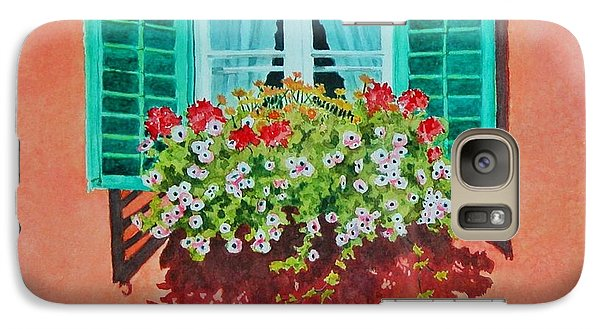 Galaxy Case featuring the painting Kitzbuhel Window by Mary Ellen Mueller Legault