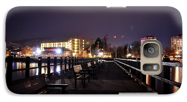 Galaxy Case featuring the photograph Kiwanis Walking Pier Night by Guy Hoffman