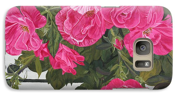 Galaxy Case featuring the painting Knock Out Roses by Wendy Shoults