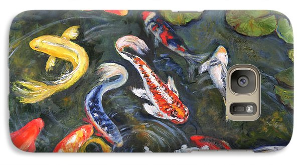 Galaxy Case featuring the painting Koi Among The Lily Pads by Sandra Nardone